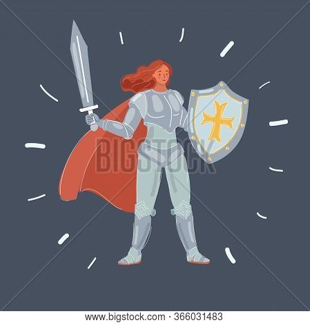 Vector Illustration Of Woman In Armor With Sword.