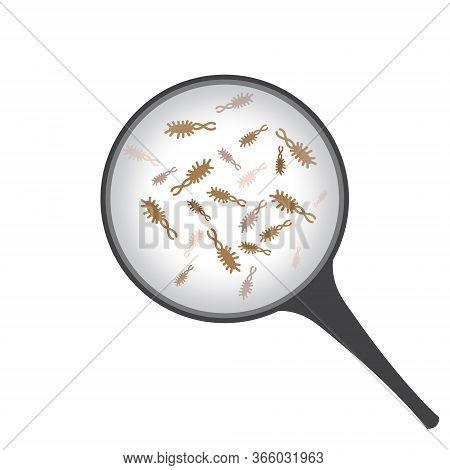 Bacteries Under Magnifier Vector Illustration On A White Background