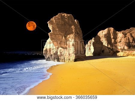 Beach In  Portimao Is A Favorite Vacation Spot For The Portuguese And Visiting Europeans. Clean Sand