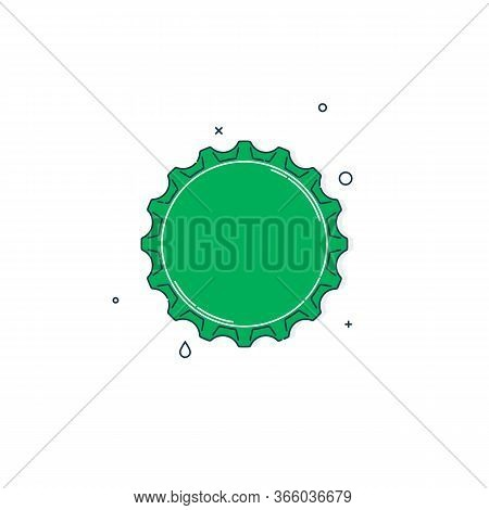 Color Flat Illustration With A Bottle Cap On A White Background. Green Cover Metal Cork. Isolated El