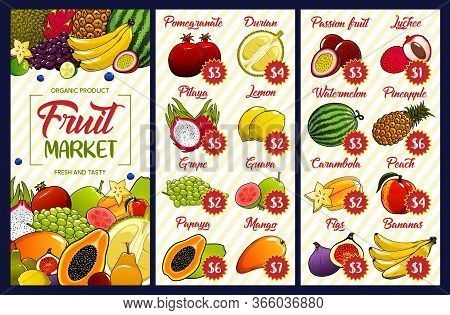 Fruit Price, Farm Market Or Store Vector Menu. Durian, Watermelon And Pineapple, Peach And Papaya, Y
