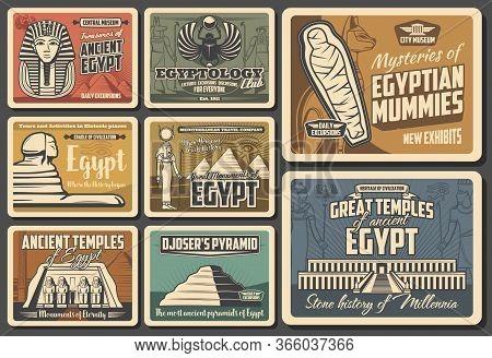 Ancient Egypt Retro Vector Posters. Cairo Pyramids Travel, Egyptian Mummies, Pharaoh Mysteries. Egyp