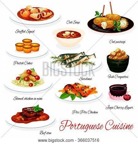 Portuguese Cuisine Vector Menu. Portugal Meals Of Stuffed Squid, Cod Soup And Pasteh Dish, Sardine F