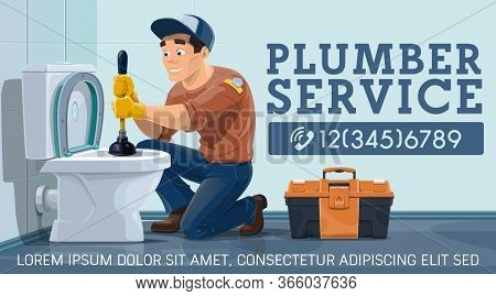Blockages Unclog Toilet, Plumber Service. Plumber Worker In Restroom With Plunger And Toolbox Cleani