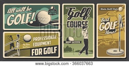 Golf Sport Club, Professional Golfer Equipment Store Vintage Vector Cards. State Golf Club Champions