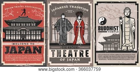 Japan Travel Vector Retro Posters. Japanese Culture Traditions, Vintage Welcome To Japan, Geisha And