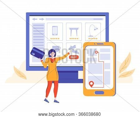 Online Order In An Online Store And Contactless Delivery. Girl Makes Purchases On The Site And Pays
