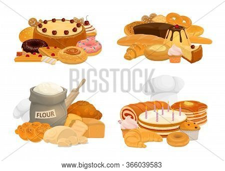 Desserts, Baking Bread And Pastry Vector Icons Of Patisserie Food. Bakery Shop Chocolate Croissant A