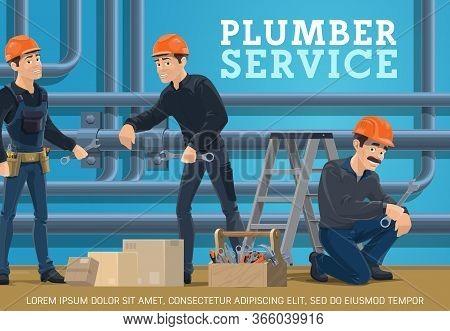 Heating Pipes Repair, Plumbing Service Vector Poster. Plumber Workers With Spanner And Tools Repairi