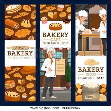 Bakers In Bakery Shop, Bread And Pastry. Cartoon Chiefs In Toque Kneading A Dough, Baking A Bread. S