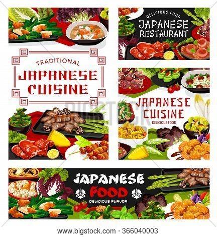 Japanese Cuisine Restaurant Menu Meals Cover, Vector. Restaurant Cuisine Shrimp Salad, Chicken Meat