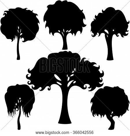 Illustration Fantasy Decorative Simple Trees Silhouettes Set