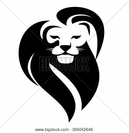 African Lion With Beautiful Mane Head Portrait - Wild Animal Black And White Vector Outline
