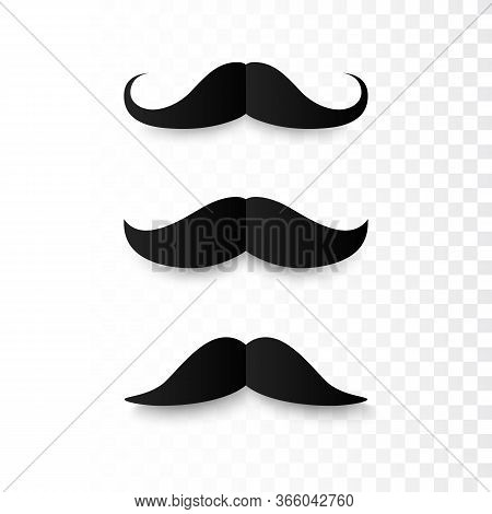 Set Of Paper Mustaches. Black Silhouette Of Moustaches. Fathers Day Decorative Element. Isolated Vec