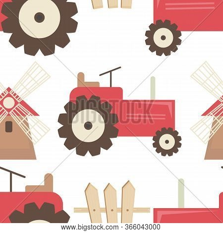 Farm Seamless Pattern - Cartoon Farm Objects - Tractor, Mill, Fence. Rustic Background. Vector Illus