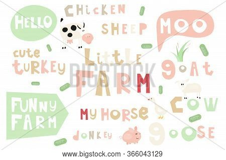 Lettering. Farm Words And Phrases Set. Hand Drawn Quotes, Phrases And Words. Vector Illustration.