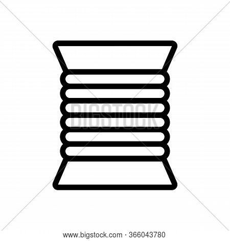 Coiled Cable Cord Icon Vector. Coiled Cable Cord Sign. Isolated Contour Symbol Illustration