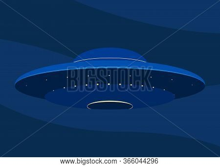 Ufo In Dark Blue Night Sky. Unidentified Flying Object, Ufo Flying, Spaceship, Spacecraft. Vector Il