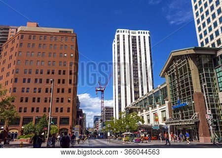 Denver,colorado,america- September 20,2019: View Of The On Downtown Denver And Blue Sky On A Clear S