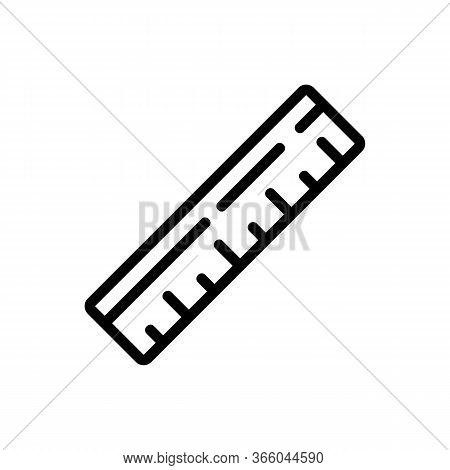 Wooden Conventional Ruler Icon Vector. Wooden Conventional Ruler Sign. Isolated Contour Symbol Illus