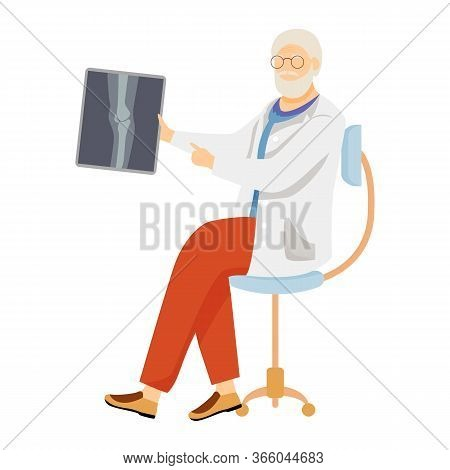Traumatologist With X Ray Flat Vector Illustration. Orthopedic Examining Xray. Bone Fracture, Joint