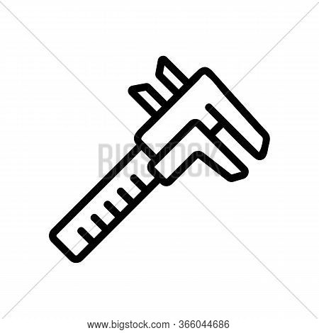 Attached To Table Yardstick Icon Vector. Attached To Table Yardstick Sign. Isolated Contour Symbol I