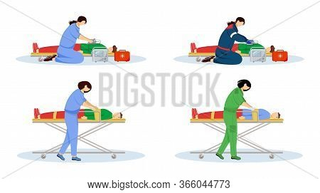 First Aid Flat Vector Illustrations Set. Emergency Doctors And Injured Patients. Urgency Care, Resus