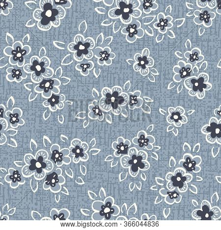 Hand Drawn Artistic Naive Daisy Flowers On Blue Denim Background Vector Seamless Pattern. Blooms, In