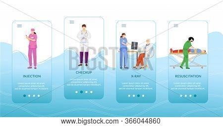 Medical Procedures Onboarding Mobile App Screen Vector Template. Injection, Checkup, Resuscitation.