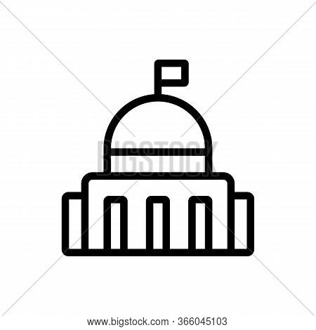 Political Government Building Icon Vector. Political Government Building Sign. Isolated Contour Symb