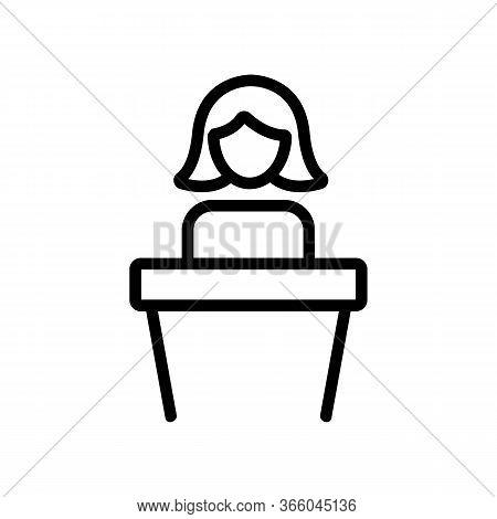 Talking Woman Behind Podium Icon Vector. Talking Woman Behind Podium Sign. Isolated Contour Symbol I
