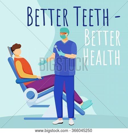 Better Teeth Better Health Social Media Post Mockup. Dental Quote. Dentistry. Advertising Web Banner