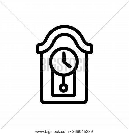 Round Pendulum Clock Wall Mounted Circular Roof Icon Vector. Round Pendulum Clock Wall Mounted Circu