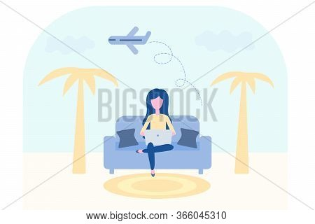 Booking Online Concept. Travel Air Tickets And Resort Hotel Website. Flight Ticket Or Insurance Rese