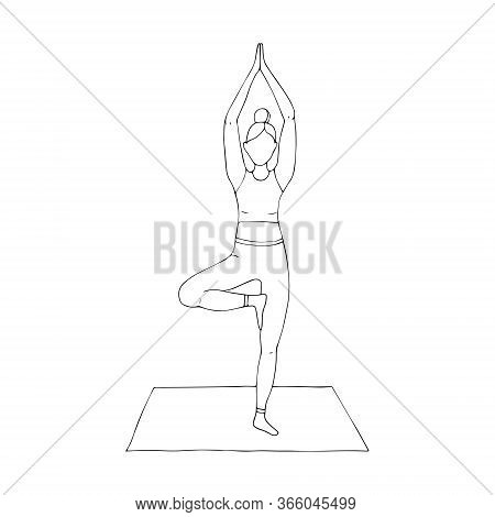 A Young Girl Is Engaged In Hatha Yoga. Stands On One Leg. The Tree Pose. Vrikshasana. Gymnastics, He