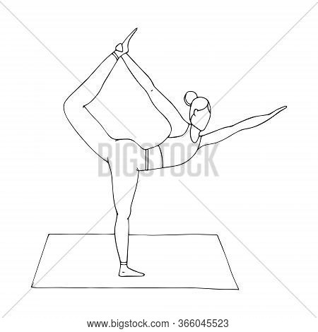 A Young Girl Is Engaged In Hatha Yoga. The Standing Bow Pulling Pose. Dhanurasana. Ancient Gymnastic