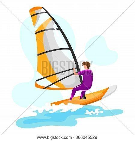 Windsurfing Flat Vector Illustration. Extreme Sports Experience. Summer Outdoor Fun Activities. Surf