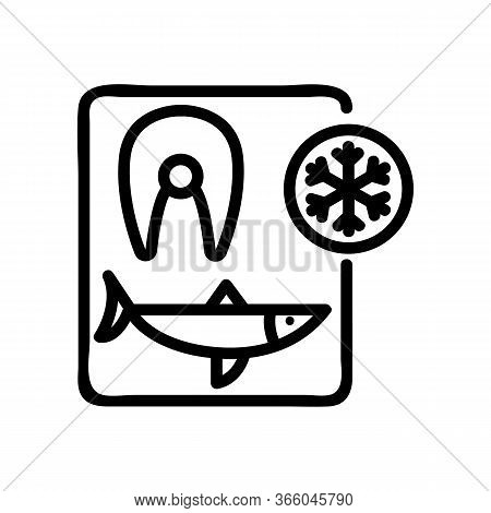 Cutting Herring And Freezing Steaks Icon Vector. Cutting Herring And Freezing Steaks Sign. Isolated