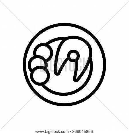 Cooked Fish Steak On Dish Icon Vector. Cooked Fish Steak On Dish Sign. Isolated Contour Symbol Illus
