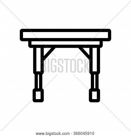 Portable On Casters Folding Table Icon Vector. Portable On Casters Folding Table Sign. Isolated Cont