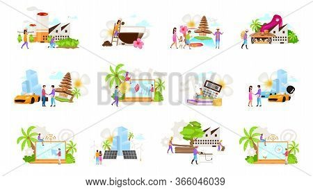 Indonesian Business Flat Vector Illustrations Set. Coffe, Tobacco Production. Timber Industry. Car R