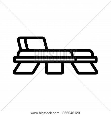 Wooden Deck Chair With Back Icon Vector. Wooden Deck Chair With Back Sign. Isolated Contour Symbol I