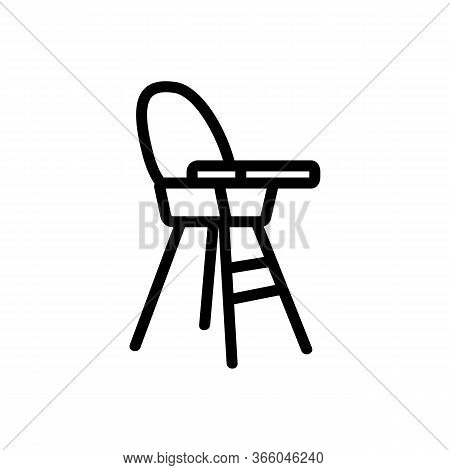 Chair For Feeding With Table-top And With Round Back Side View Icon Vector. Chair For Feeding With T