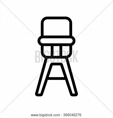 High Classic Feeding Chair Icon Vector. High Classic Feeding Chair Sign. Isolated Contour Symbol Ill