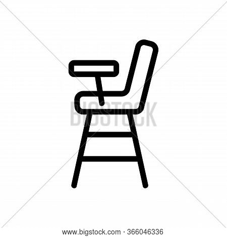 Wooden Feeding Chair With Worktop Icon Vector. Wooden Feeding Chair With Worktop Sign. Isolated Cont