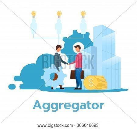 Aggregator Flat Vector Illustration. Partnership. Service Provider. E-commerce. Business Model. Rese