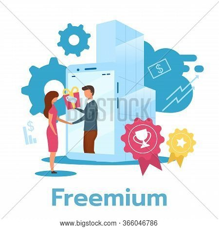 Freemium Flat Vector Illustration. Free Product Trial Period. Software Version. Pricing Strategy. Su