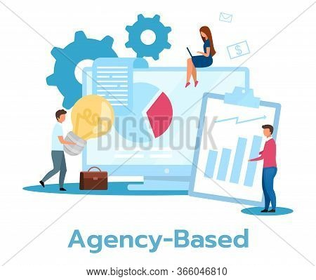 Agency Based Business Model Flat Vector Illustration. Partnership, Cooperation. Coworking Companies.