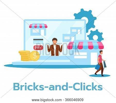 Bricks-and-clicks Flat Vector Illustration
