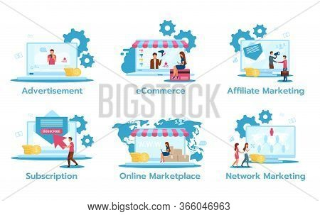 Business Model Flat Vector Illustrations Set. Advertisement. E-commerce. Affiliate Marketing. Subscr